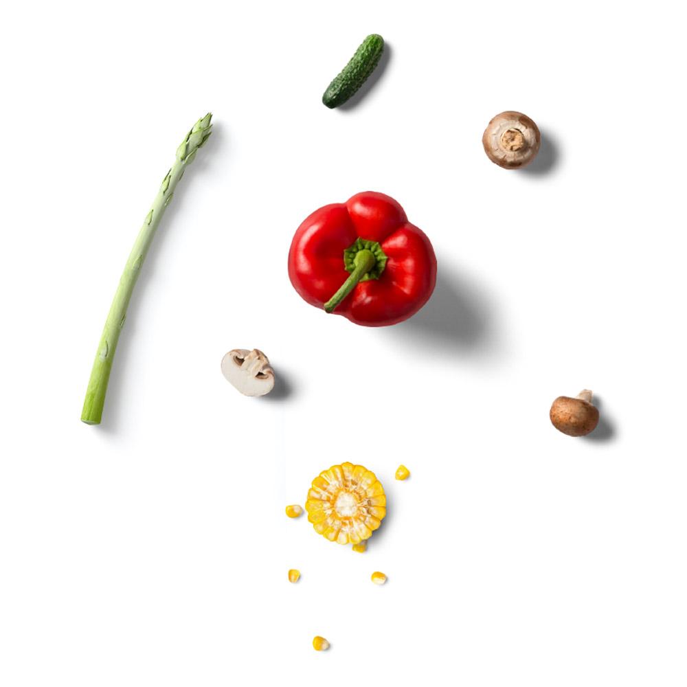 Konserven Gemüse Grüner Spargel Champignons Paprika Mais Gewürzgurke