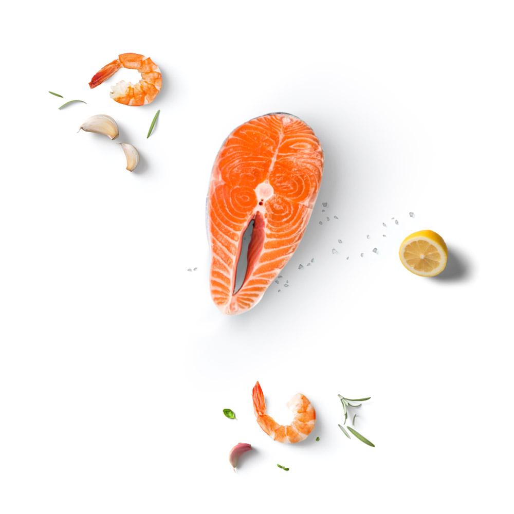 Tiefkühl Meeresfrüchte Scampi Lachs